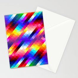 Abstract Colorful Decorative Squares Pattern Stationery Cards