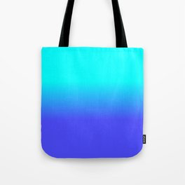 Neon Blue and Bright Neon Aqua Ombré Shade Color Fade Tote Bag