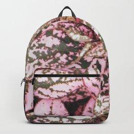 Green veined pink leaves Backpack