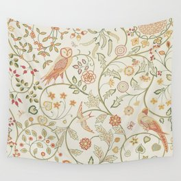 William Morris Newill Owl Art Ivory Sage Vintage Pattern  Wall Tapestry