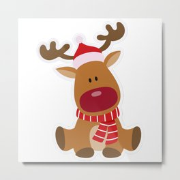 Christmas Deer Cute And Funny Shirts Metal Print