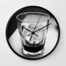 Timeless | Modern abstract black white coffee ice photography Wall Clock
