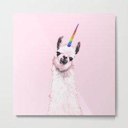 Unicorn Llama in Pink Metal Print