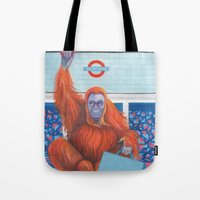 frank Tote Bags featuring Frank by Sarah Underwood Illustration