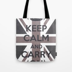 Keep Calm and Carry On UK - Purple/Grey Tote Bag