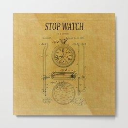 Stopwatch Patent 1 Metal Print