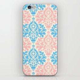 Pastel blue pink vintage floral damask pattern iPhone Skin