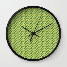Green Ko-Ji Tsunagi Japanese Kimono Pattern Wall Clock