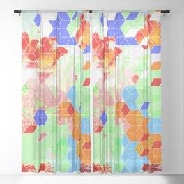 Pop Floral Cube Pattern 2  #fashion #pattern #lifestyle Sheer Curtain