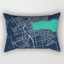 Barrie Blue Dark Color City Map Rectangular Pillow