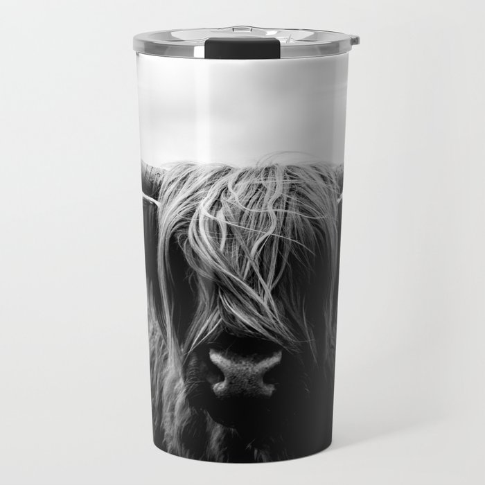 Scottish Highland Cattle Black and White Animal Travel Mug