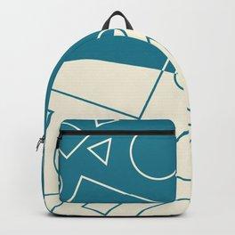 Turquoise Cream Geometric Shape Wave Modern Pattern Backpack