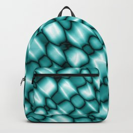 Vapor drips of the azure diagonal with cracks on the fabric backing.  Backpack