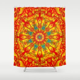 Hot And Bright Thoughts Mandala Shower Curtain