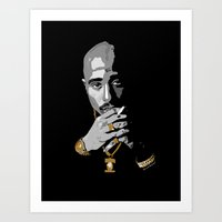 tupac Art Prints featuring Tupac by Terrionna Brockman