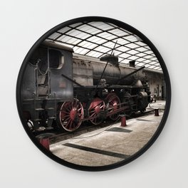 steam locomotive inside the train station Wall Clock