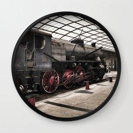 steam locomotive inside the train station Wall Clock