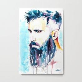 Gay Beard Art // Bearded man, Gay Male Art, Watercolor Male Art for Queer Wedding Metal Print