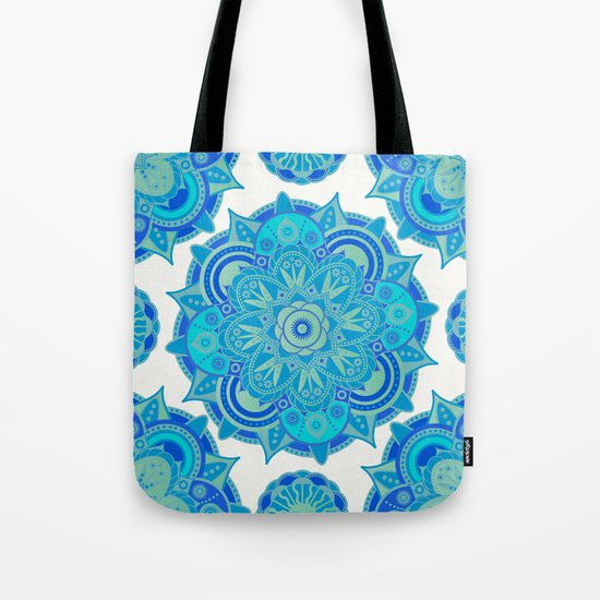Throat Chakra Mandala Tote Bag