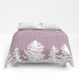 Mountains and Forest at Dusk Comforters