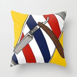 Barber Pole & Razor Throw Pillow