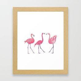 Watercolor flamingos on white background Framed Art Print