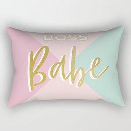 Faux Gold Glitter Boss Babe on simple geometry Rectangular Pillow