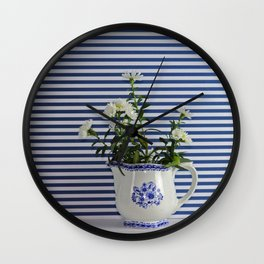 blue and white still life Wall Clock