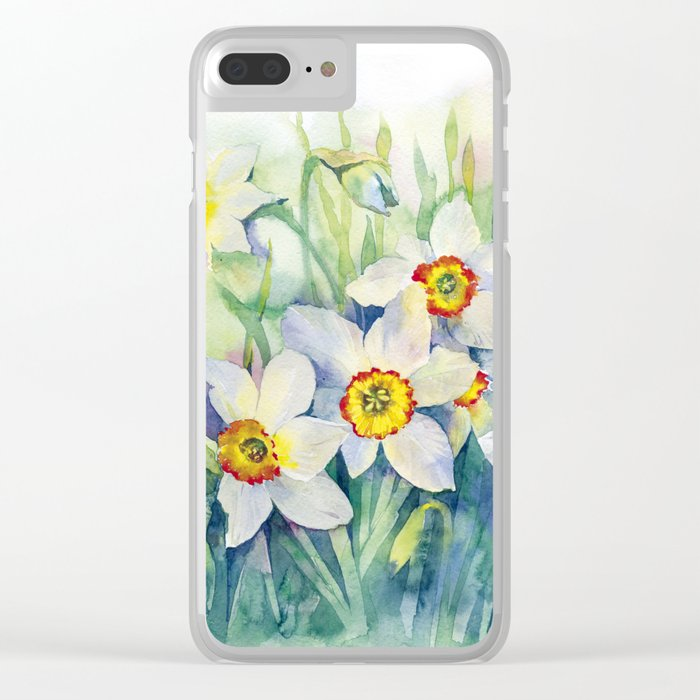 Daffodils watercolor illustration Clear iPhone Case