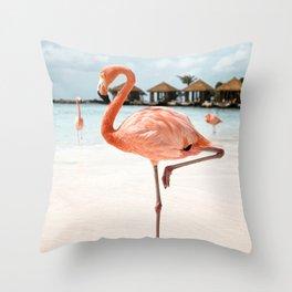 Travel Photography Art Print | Pink Flamingo Beach Photo | Aruba Island Tropical Summer Bird  Throw Pillow