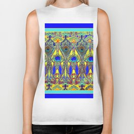 Decorative Blue Peacock Art Nouveau Themed Design Biker Tank