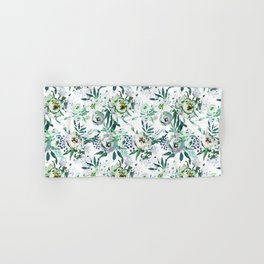 Country white green rustic watercolor floral Hand & Bath Towel