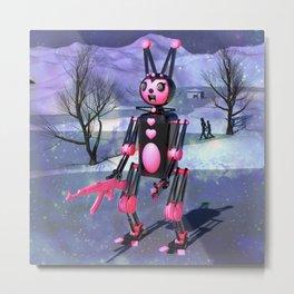 Run From The Giant Robot Rabbit Metal Print