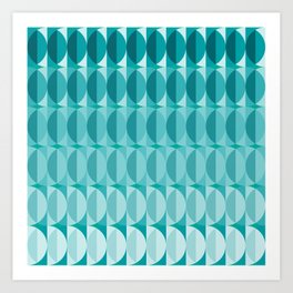 Leaves in the moonlight - a pattern in teal Art Print