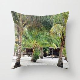 Bungalows on Palm Beach Throw Pillow