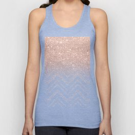 Modern faux rose gold glitter ombre modern chevron stitches pattern Unisex Tank Top