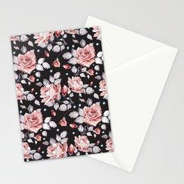 Vintage Pink Rose Flowers Stationery Cards