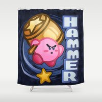 kirby Shower Curtains featuring Kirby Hammer by likelikes