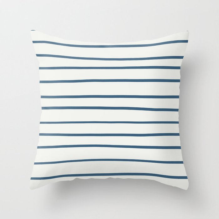 Blue Hand Drawn Horizontal Lines on Off White Pairs To 2020 Color of the Year Chinese Porcelain Throw Pillow