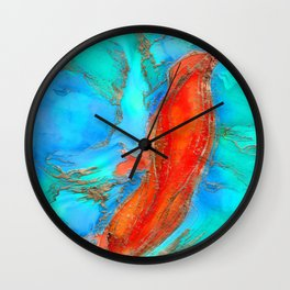Alcohol ink and gold - Incline Wall Clock