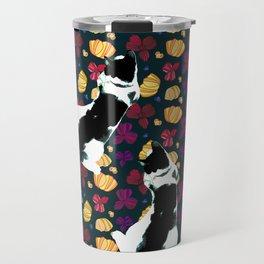 Benji the Cat, Navy, Soft Yellow, Flowers, and Purple Travel Mug