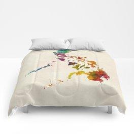Philippines Watercolor Map Comforters
