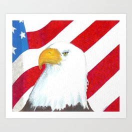 Eagle And Flag Art Print