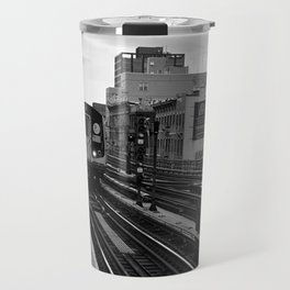 Black and White J Train Travel Mug
