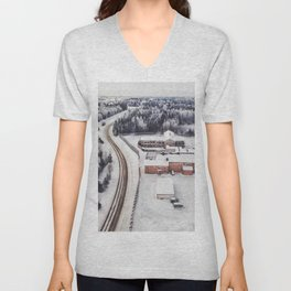 Winter view from the sky Unisex V-Neck