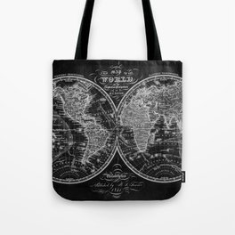 Black and White World Map (1842) Inverse Tote Bag