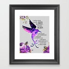 Hummingbird Psalm 9:1-2 Scripture Purple Abstract Collage Art Framed Art Print