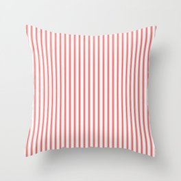 Mattress Ticking Narrow Striped Pattern in Red and White Throw Pillow
