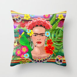 Frida Kahlo Floral Exotic Portrait Throw Pillow