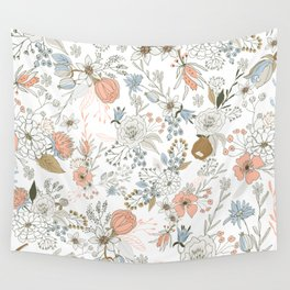 Abstract modern coral white pastel rustic floral Wall Tapestry